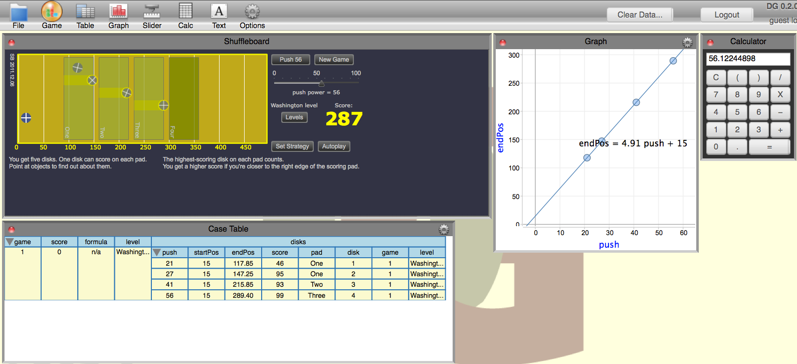 Shuffleboard Data Game Screen