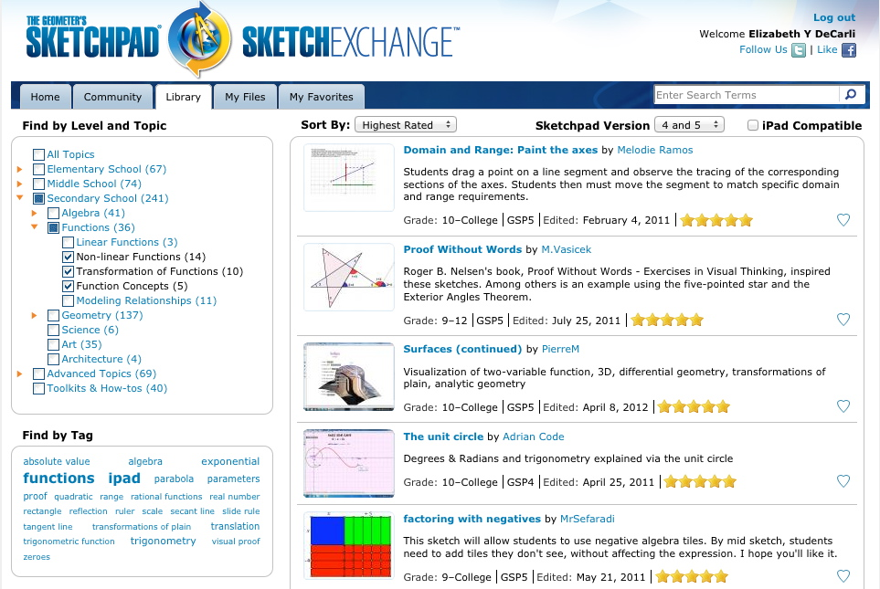 Sketchpad Sketch Exchange Library