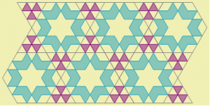 Islamic geometric pattern created with hexagon and triangle. The hexagon is the same as the one from the floor in Sultan Ahmed Mosque. Pattern on the triangle matches the pattern on hexagon.